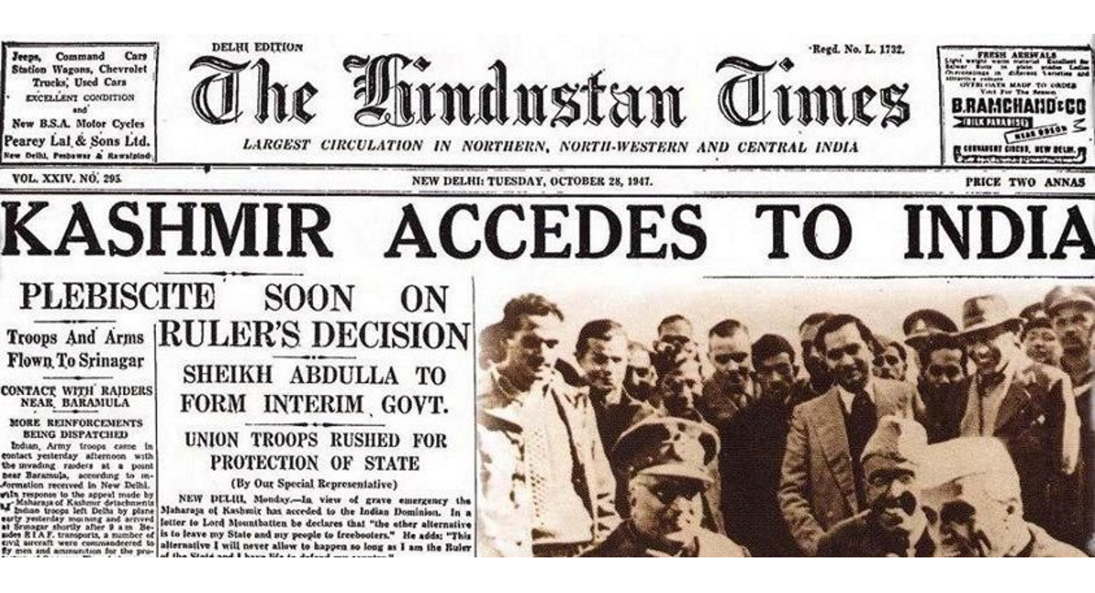 The kingdom of Jammu and Kashmir agreed to accede to the Union of India in October 1947. (Credit: www.asian-voice.com)