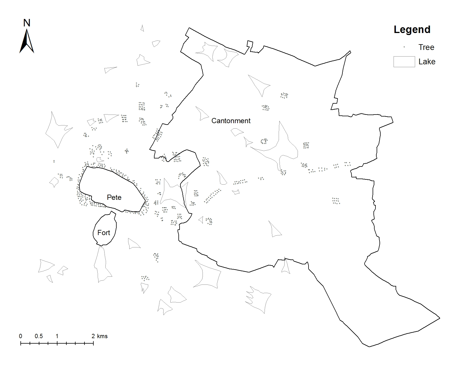 Distribution of trees and lakes in Bengaluru in 1791