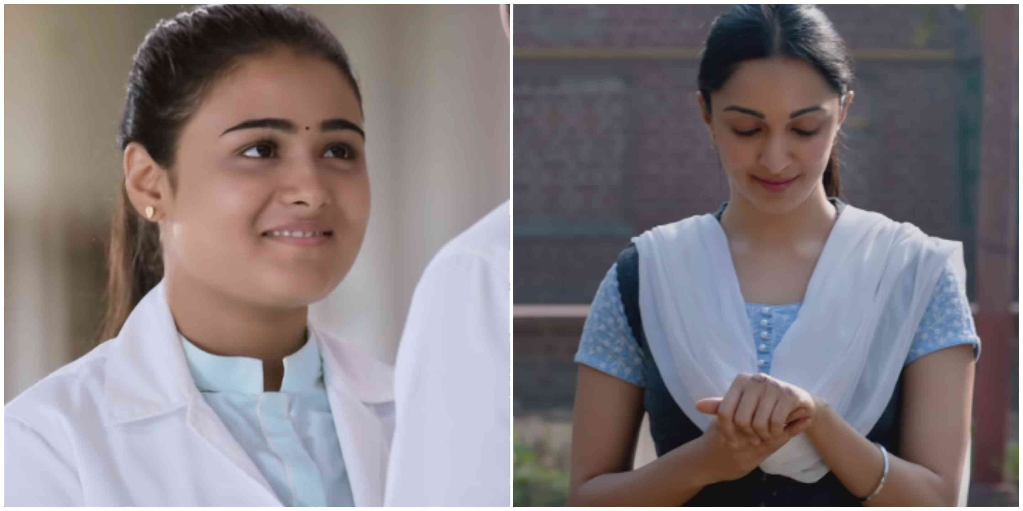Shalini Pandey (left) in 'Arjun Reddy' and Kiara Advani in 'Kabir Singh'. Courtesy: Bhadrakali Pictures/Cine1 Studios/T-Series.