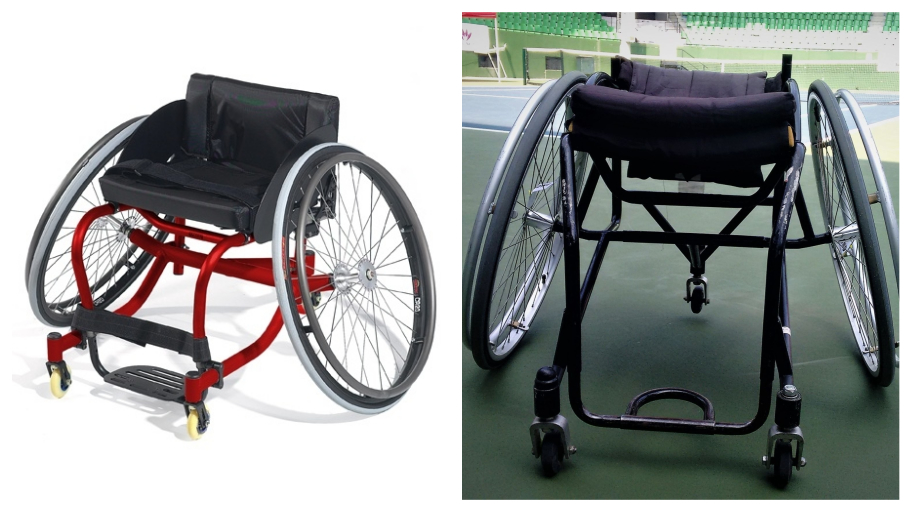 The Quickie Match Point series of tennis wheelchairs by Sunrise Medical (like the one on the left), which cost over Rs. 2.5 la, are customizable, weighs light and are designed for agility and control. Shekar's wheelchair (right), manufactured by Motivation, is more rudimentary.