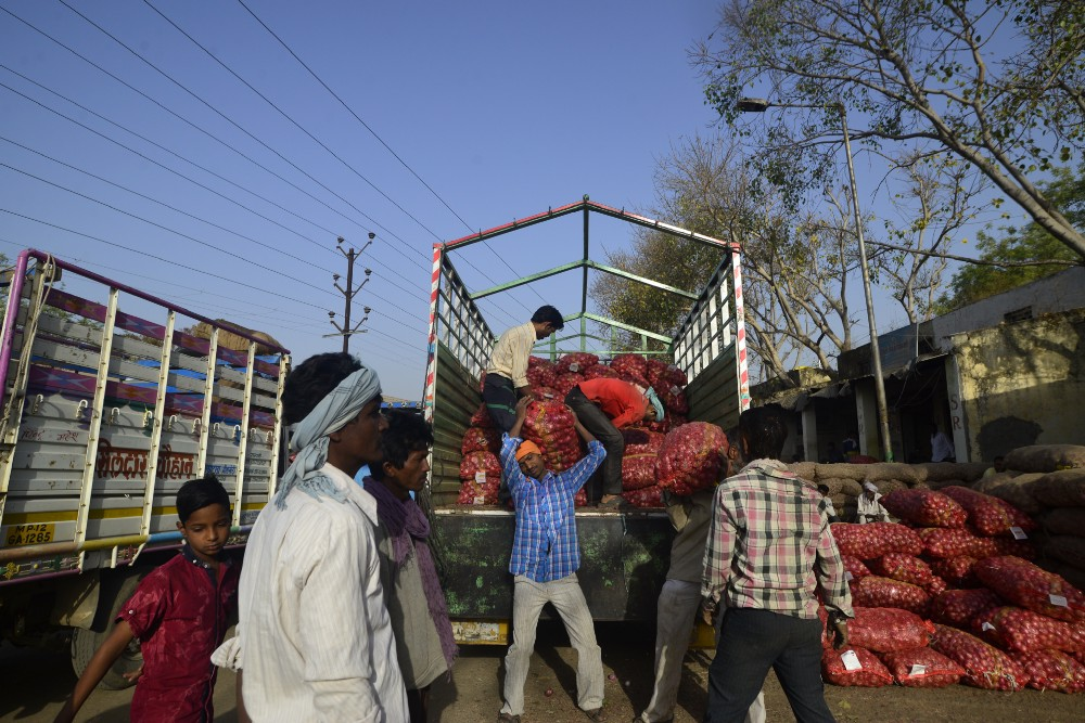 Pratap Patil and Tarachand watch as their onion is unloaded at the Khandwa market.