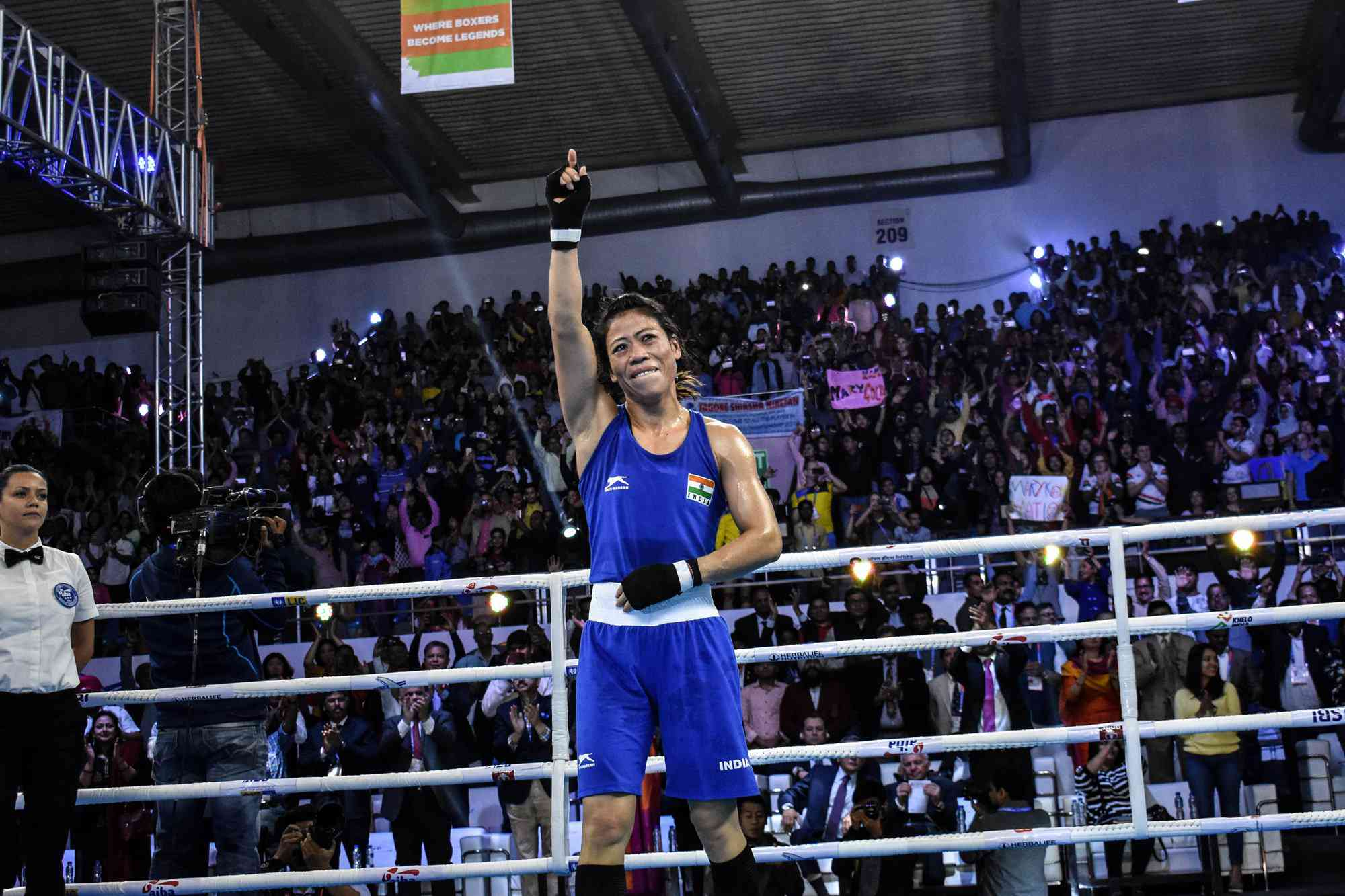 India's Mary Kom reacts during the women's world boxing championships, where she won her sixth title (AIBA)