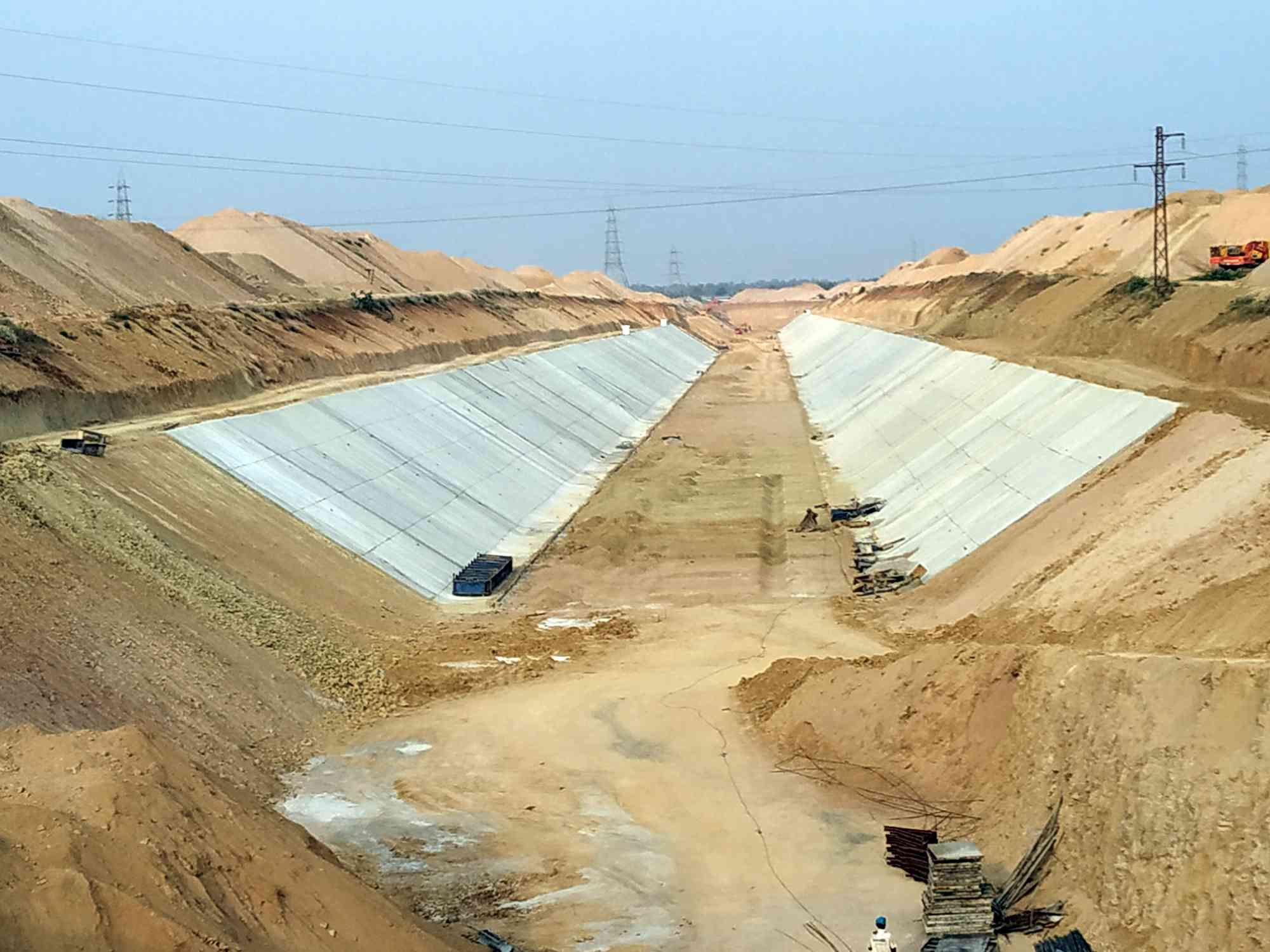 Work under the Kaleshwaram Lift Irrigation Project underway in Siddipet in Telangana.