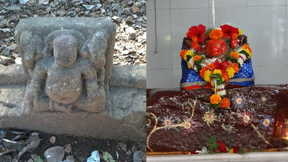 One of the bhaarvahakas found in Marol Police Camp (left); A bhaarvahaka fragment on Aarey Road has propped up vertically in a local temple and is worshipped as a deity.