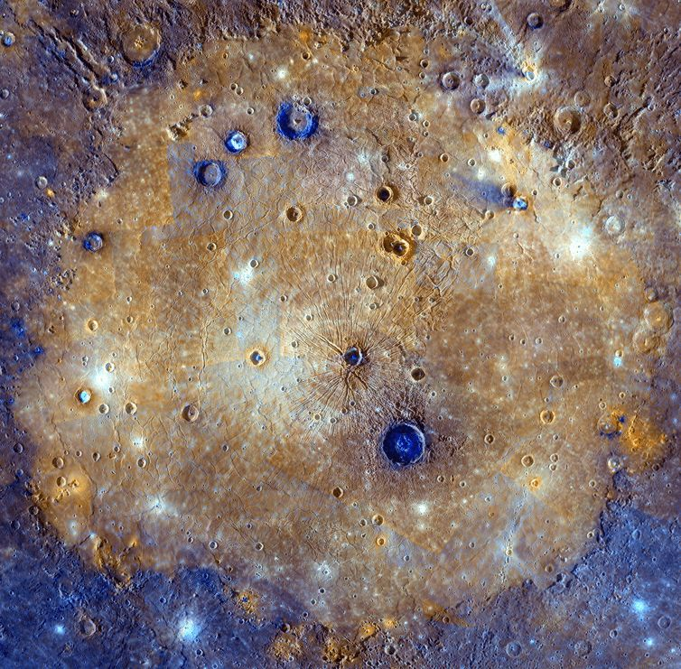 Mercuy's Caloris basin, seen in exaggerated colour. At 1,525km diameter this is the largest impact basin on the planet. NASA/Johns Hopkins University Applied Physics Laboratory/Carnegie Institution of Washington