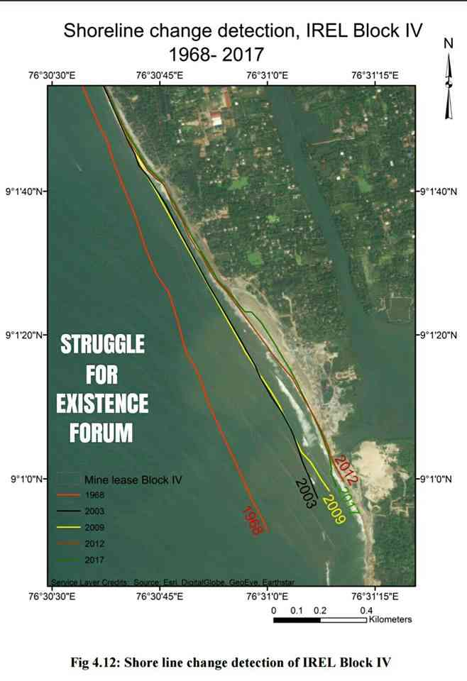 Map showing coastal erosion near Kollam over the past decades. Source: NIIST