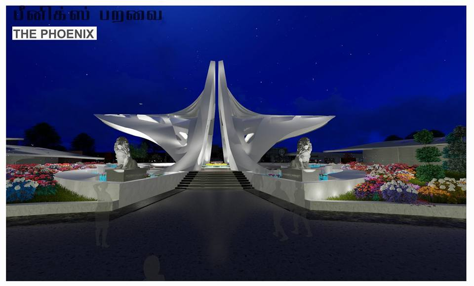 An artist's illustration of how the proposed memorial could look at night.