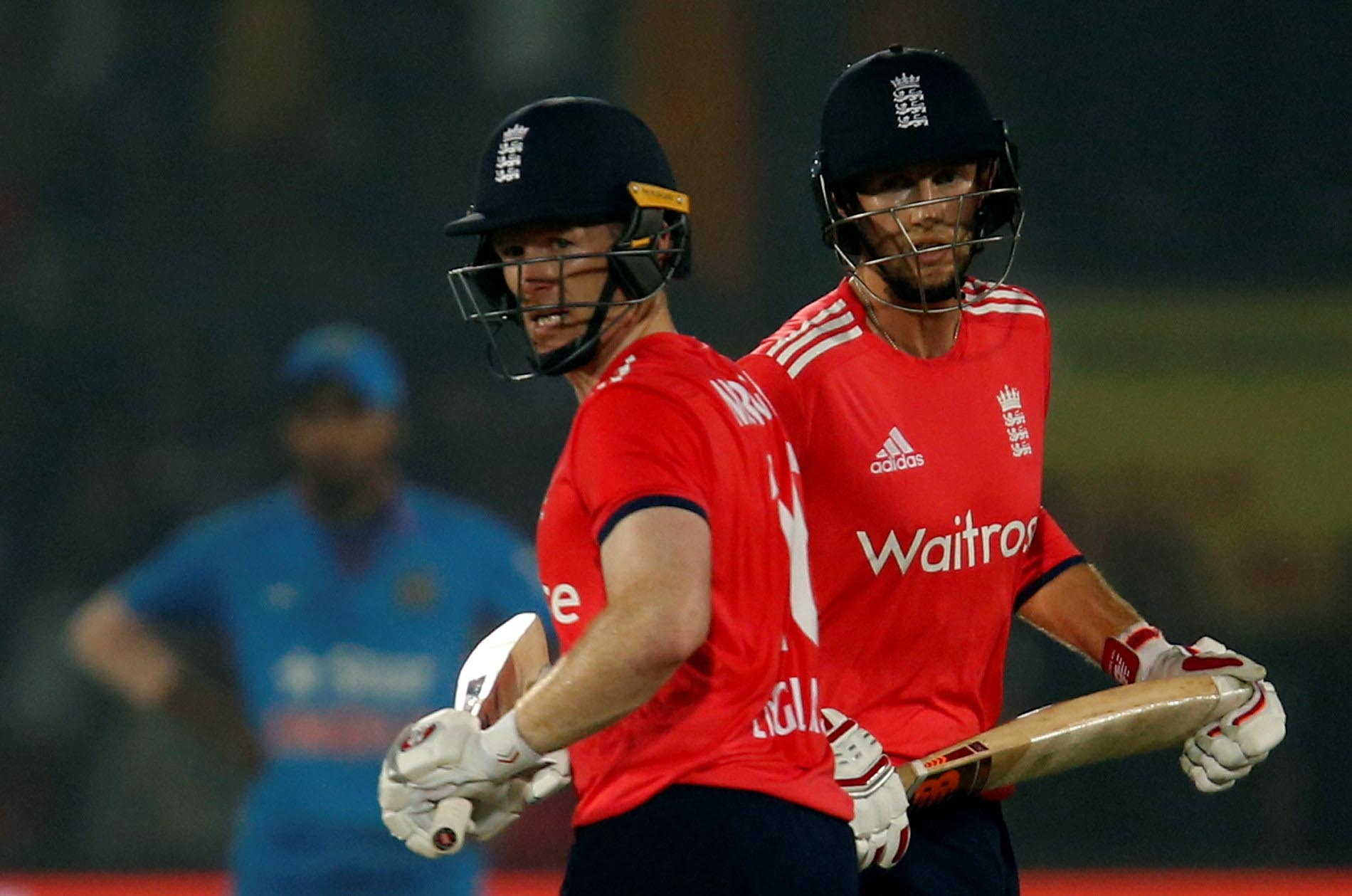 Eoin Morgan (left) has called for DRS to be introduced in T20s after an incorrect umpring decision to adjudge Joe Root out (Image credit: Reuters)