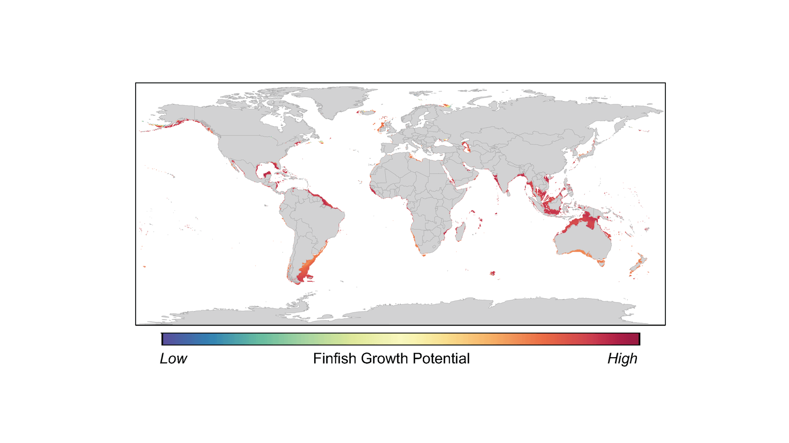 Global hotspots for finfish aquaculture. Image credit: Adapted from Gentry et al., Nature Ecology & Evolution 1, 1317–1324 (2017) [Licensed under CC BY 4.0]