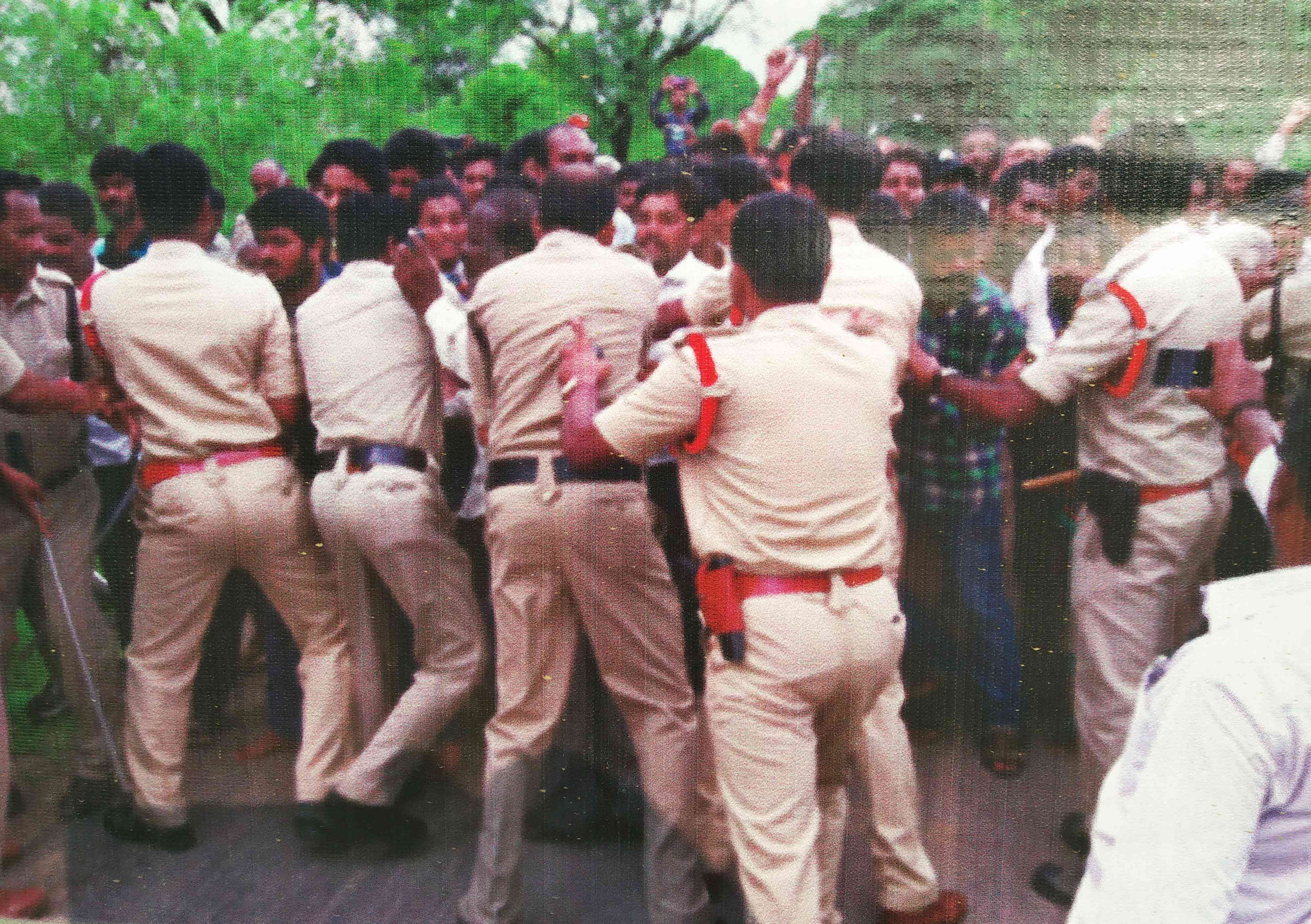 Police action during a protest against land acquisition in Vemulaghat in July, 2016.