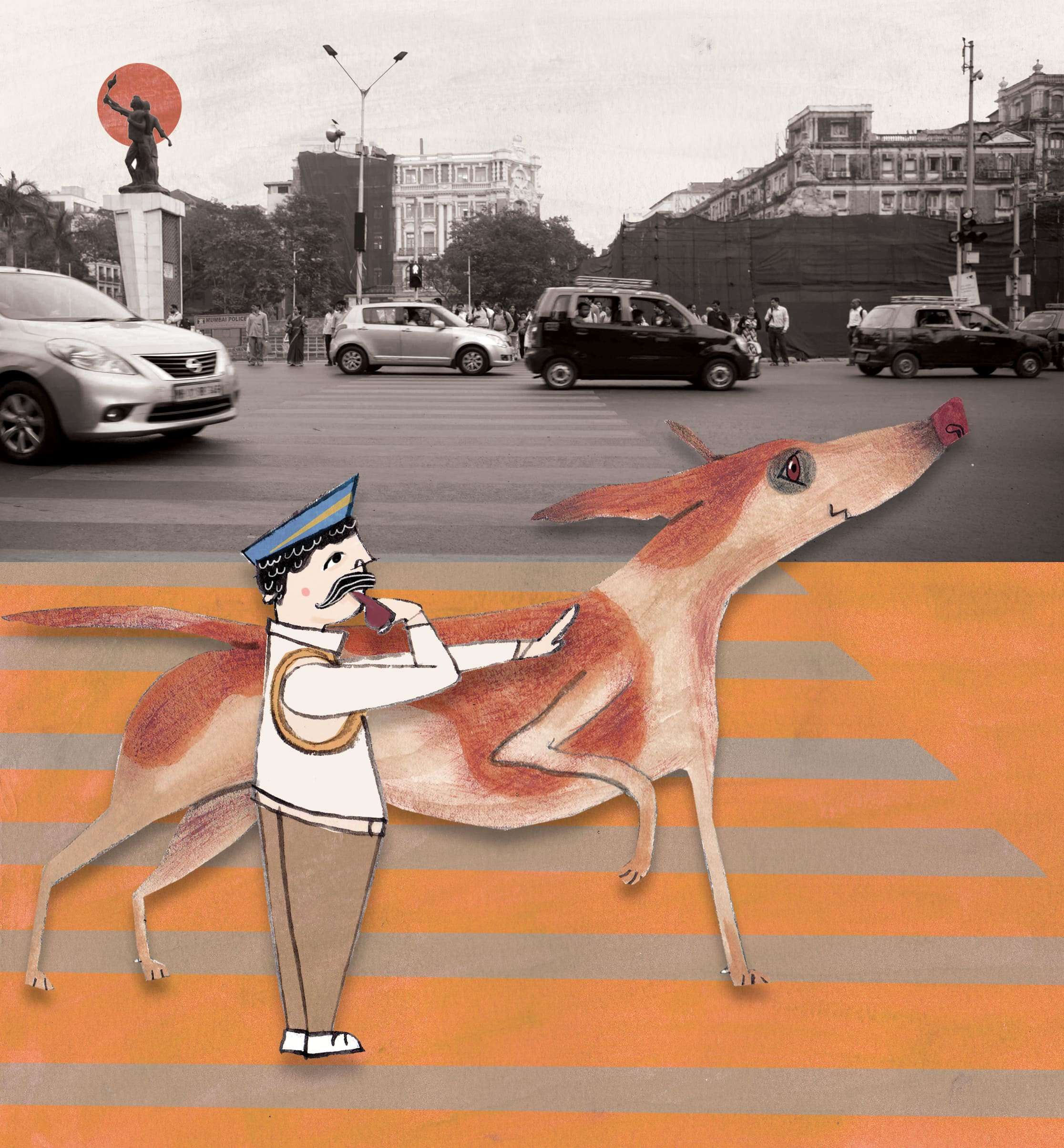 """Traffic loves to help the traffic police."" Illustration: Sumedha Sah. Photography: Hashim Badani."