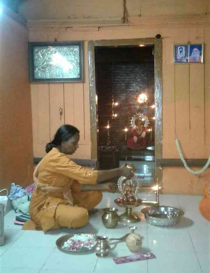 Ashwathy Sudha performs puja at the ashram. Photo by special arrangement