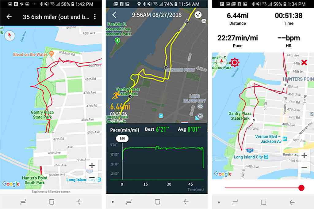 In a perfect GPS world, these screenshots of the devices' apps would show solid out-and-back lines. The Forerunner 35 (above left) had me walking on water, the Coros Pace (above center) showed me running through buildings, and the Polar M430 (above right) displayed some wonky waterfront behaviour. However, the Coros and the Polar did provide a total distance measurement that was dead-on accurate.