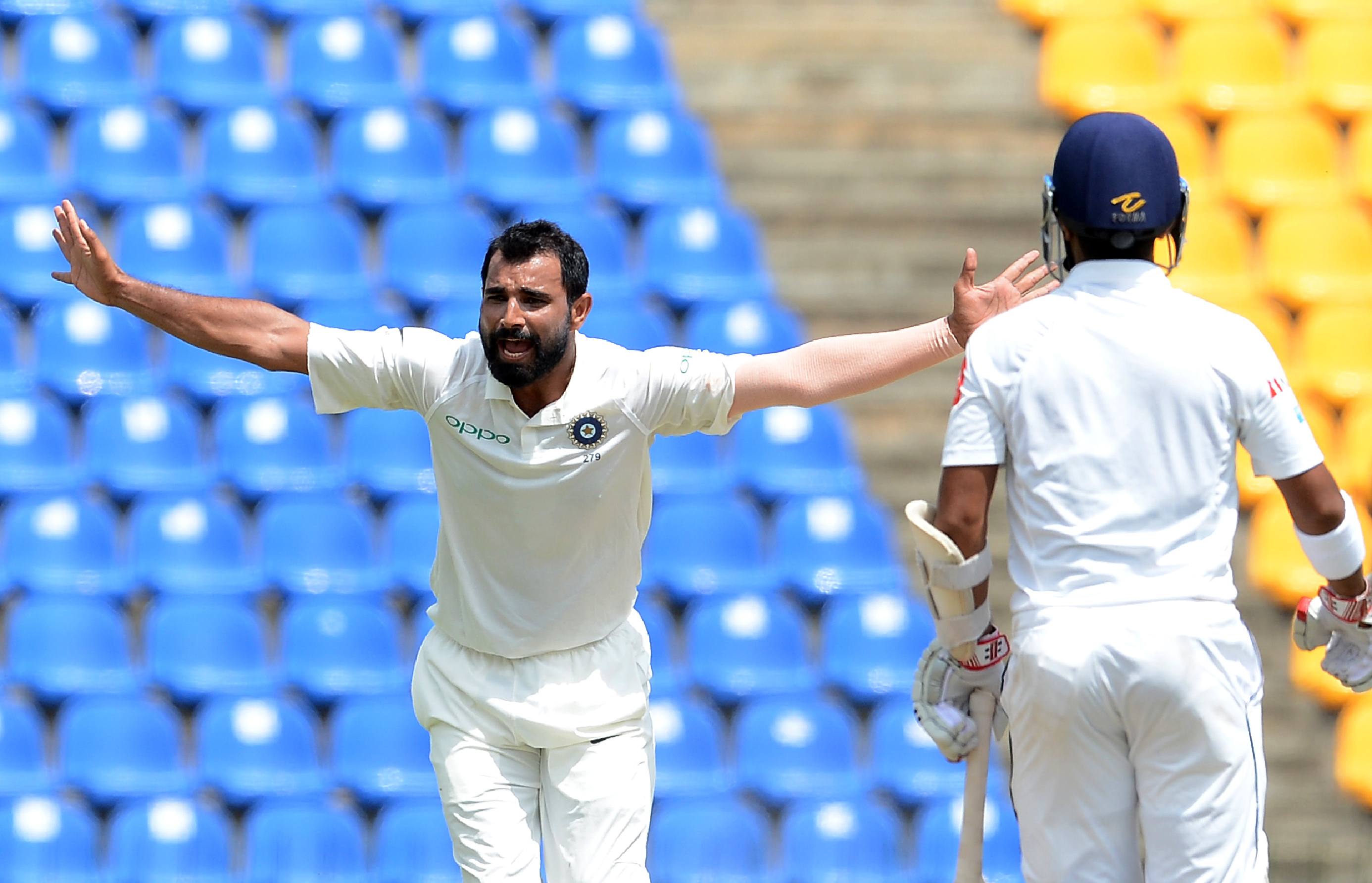 Mohammad Shami sent both the Sri Lanka openers packing. Photo: AFP