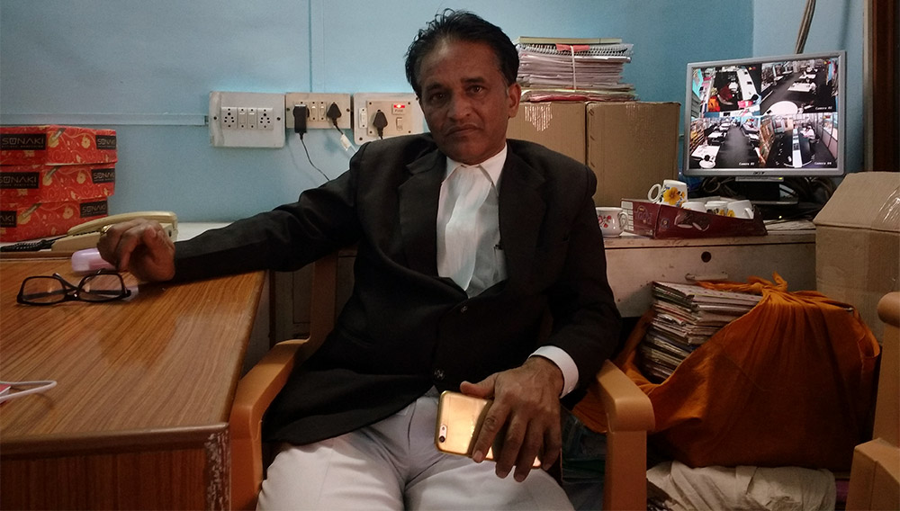 Advocate Uday Gaware in the library of the District Court in Latur. Credit: Mridula Chari
