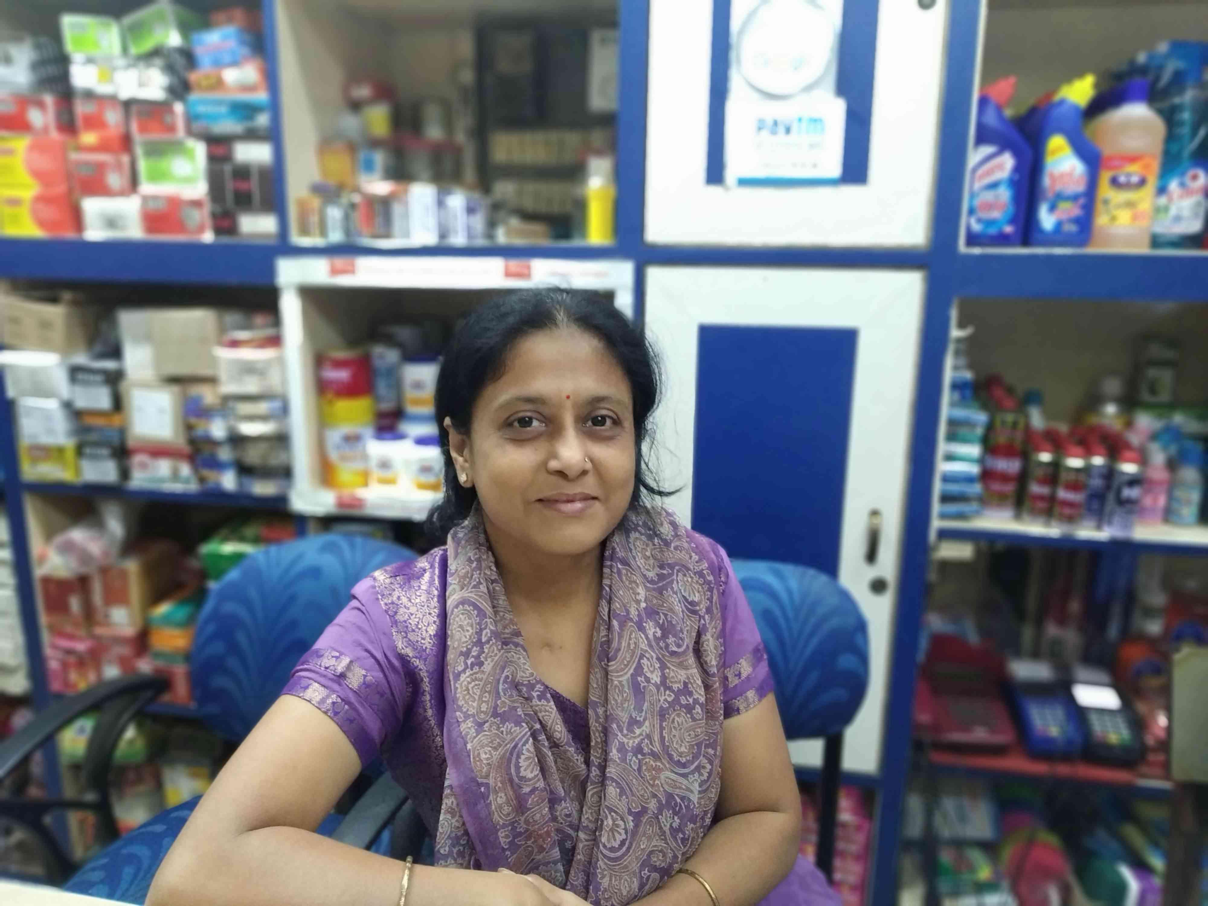 Bharti Ajitsariya runs a departmental store in Guwahati. Photo credit: Arunabh Saikia