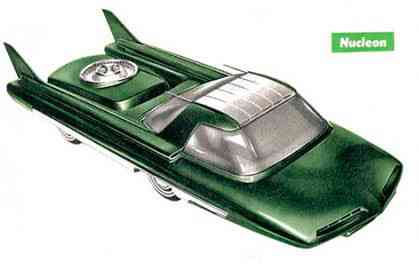 The 1958 Ford Nucleon would be powered by a small atomic reactor in the rear. The seats are positioned as far from the reactor as possible to enable the most amount of shielding from radiation.
