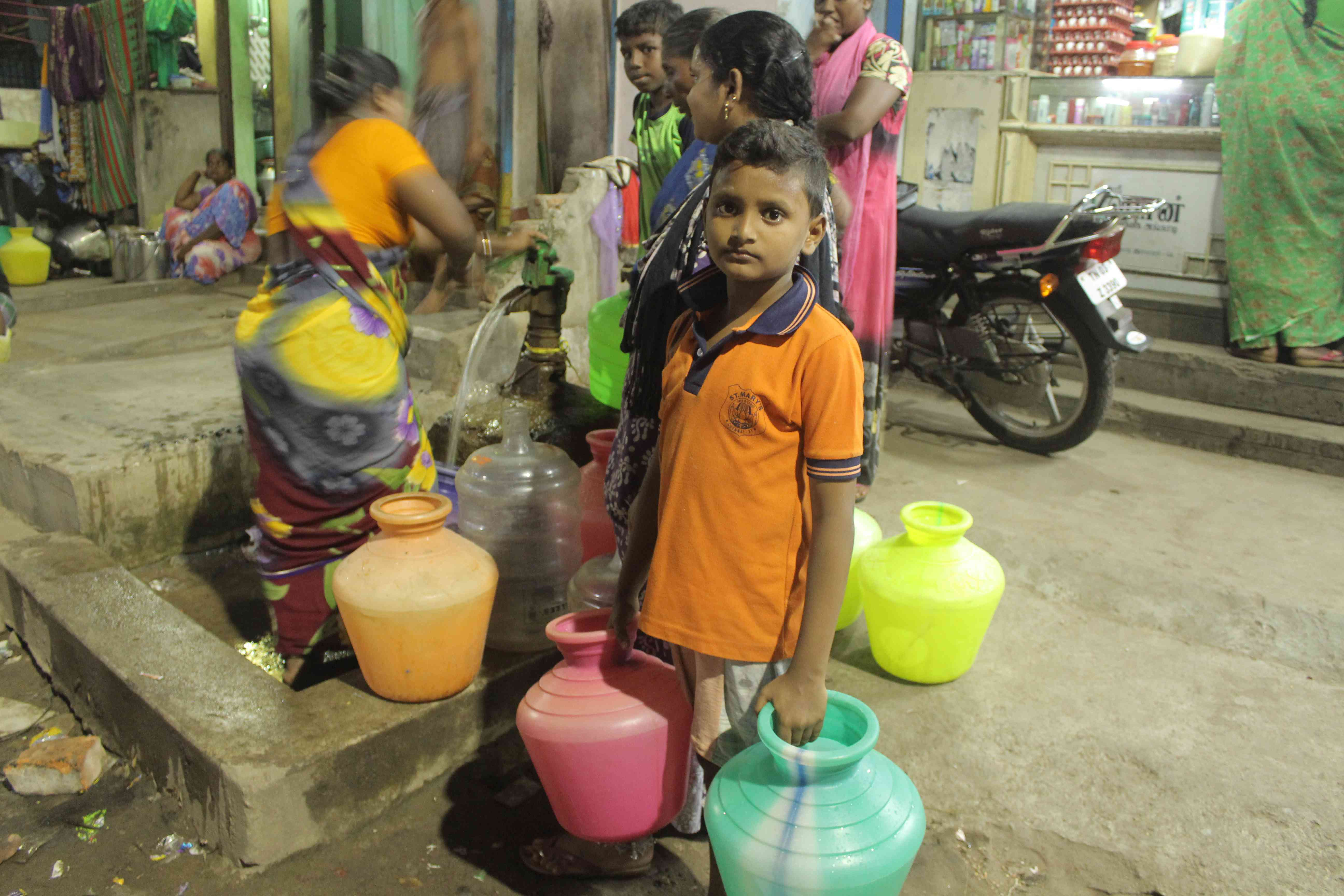 T Nagamma's son accompanies her to the hand pump most days. Photo credit: S Senthalir