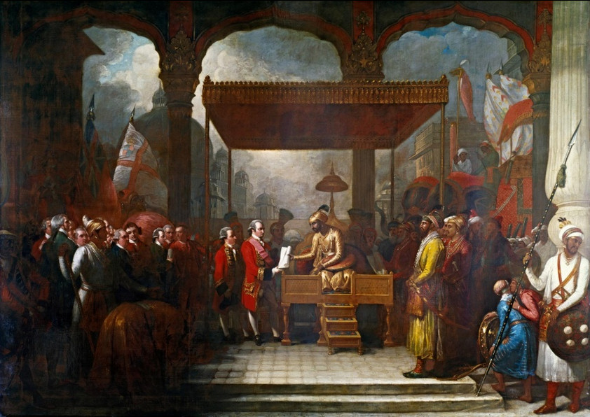 The Mughal emperor Shah Alam hands the diwani to Robert Clive, transferring tax collecting rights in Bengal, Bihar and Orissa to the East India Company; by Benjamin West, 1818. Image credit: Wikimedia Commons.