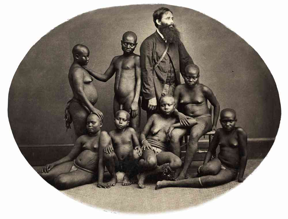 Saché & Westfield. Andamanese group with their keeper Mr Homfray, 1865. Courtesy: The British Library, London.