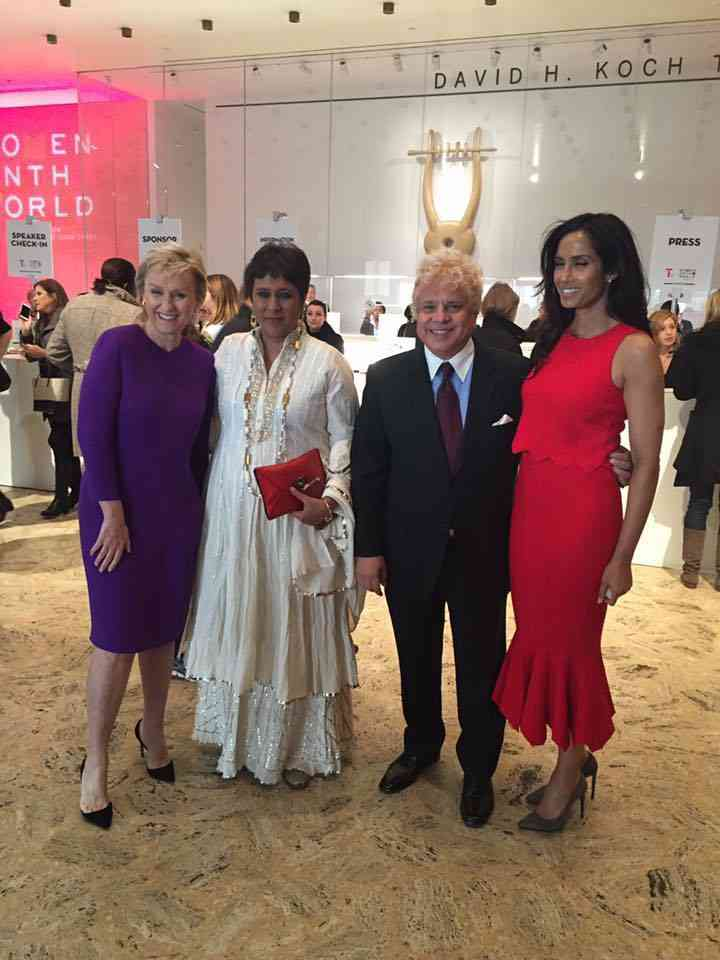 World Summit at The Lincoln Center in Manhattan with Tina Brown, Barkha Dutt and Padma Lakshmi. Image courtesy: Facebook/Suhel Seth. April 7, 2016.