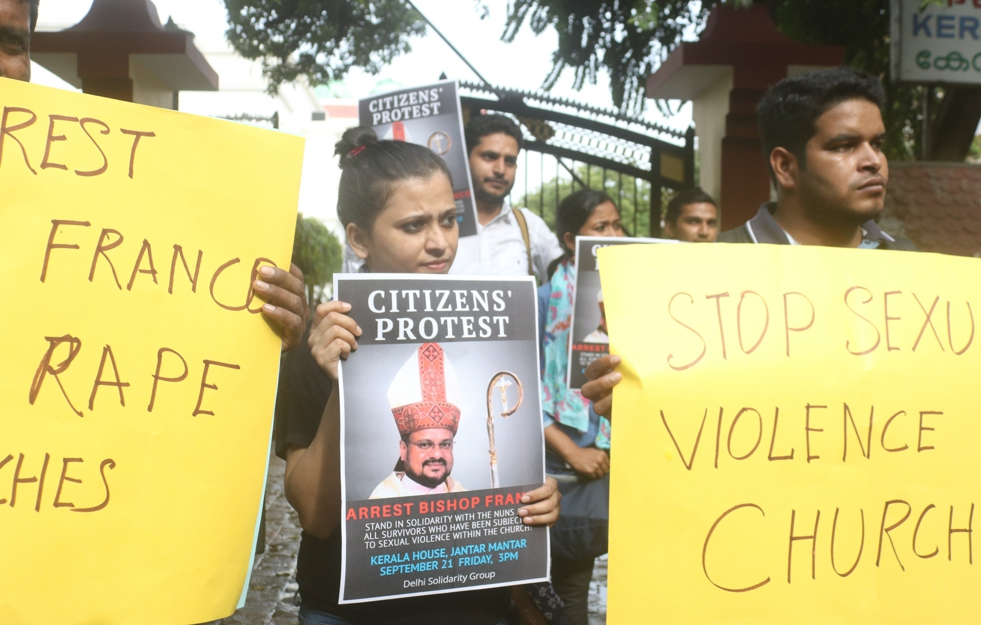 A protest against Franco Mulakkal. Photo credit: IANS
