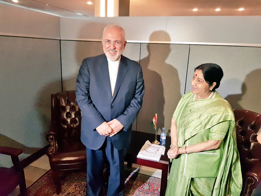 Javad Zarif with the Indian Foreign Minister Sushma Swaraj in Delhi. Photo via Twitter
