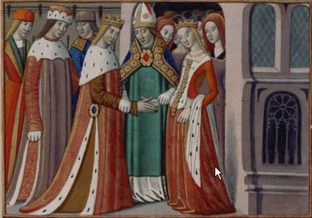 Margaret of Anjou marries Henry VI of England. Image credit: Martial d'Auvergne.