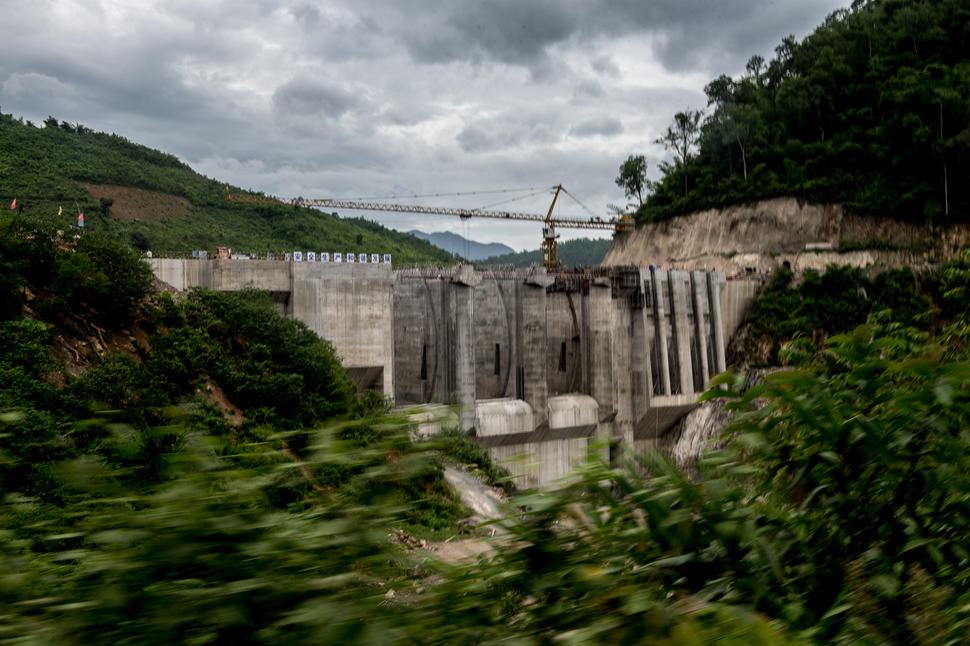 The construction site of the Nam Kong 1 hydropower dam. Three Chinese-owned dams are slated for the Nam Kong river, and they will collectively inundate more than 1500 km of land, displacing thousands of residents.