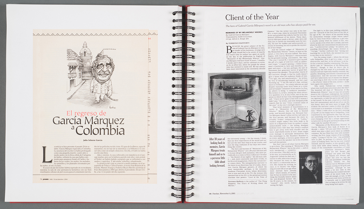Scrapbook with reviews, interviews and pieces by Marquez (Harry Ransom Center at The University of Texas, Austin)