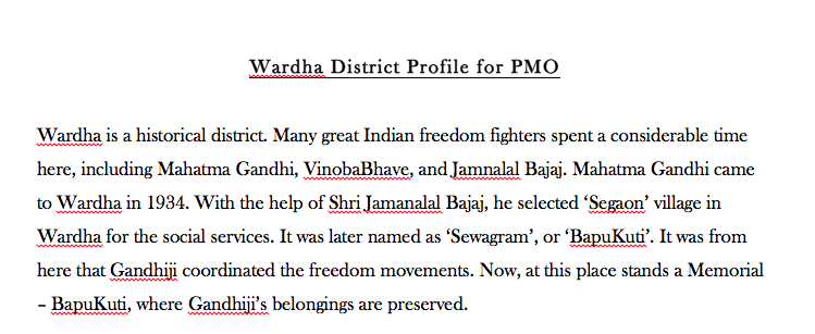 Screenshot of the District Collector's profile for Wardha district in Maharashtra. Modi spoke in the district on April 1.