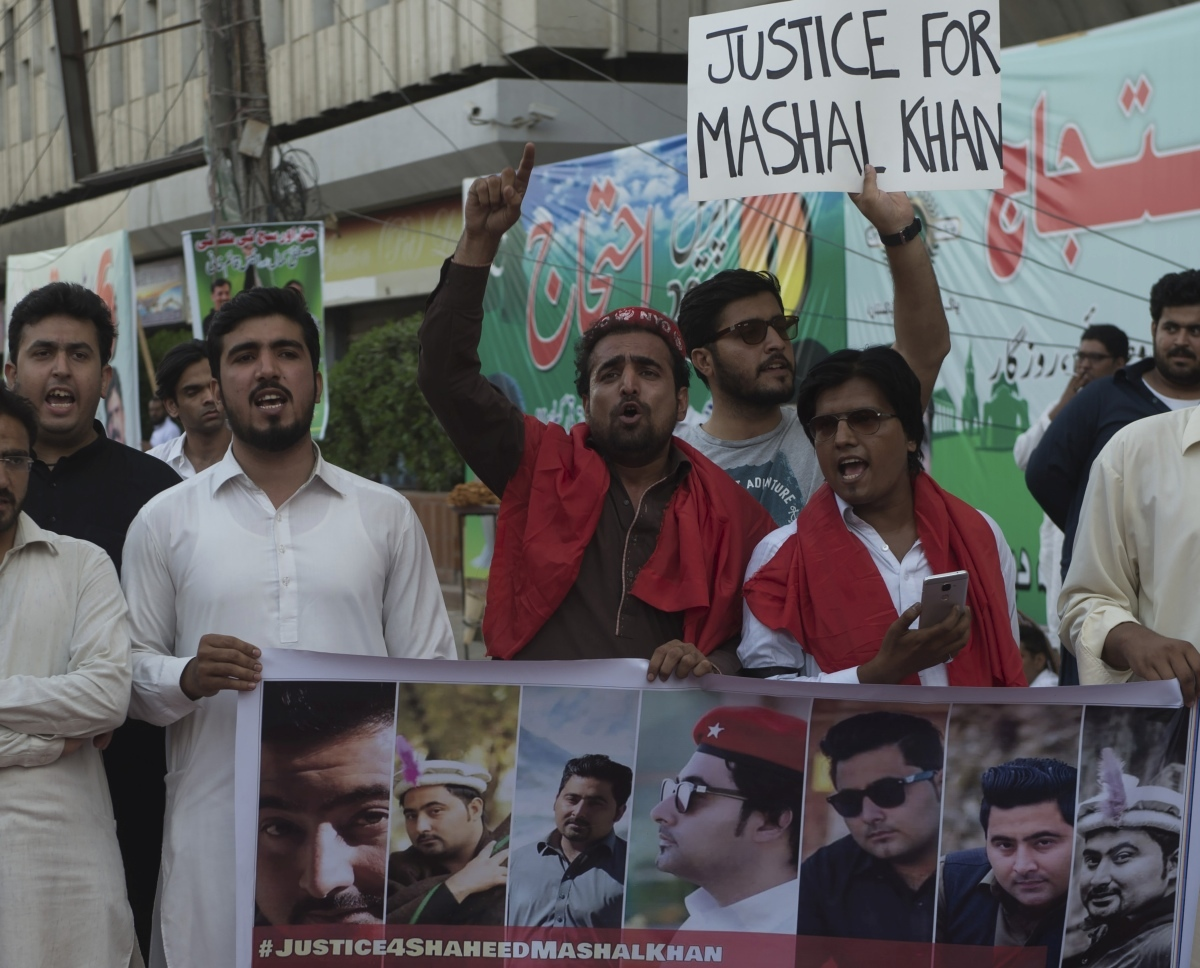 Activists protest in Karachi in April against the murder of Mashal Khan, who was beaten and shot dead by a mob for a Facebook post. Photo credit: Asif Hassan/AFP.