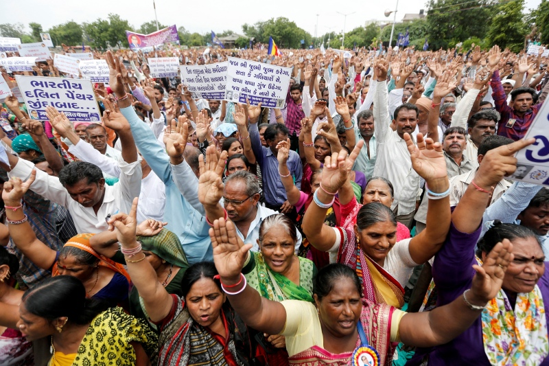 People shout slogans at the Dalit rally in Ahmedabad on Sunday. (Photo credit: Amit Dave/Reuters)