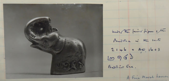 Notes on a small bronze elephant figurine, dated 1603 AD, collected by Le May in Northern Siam. MSS Eur C275/6