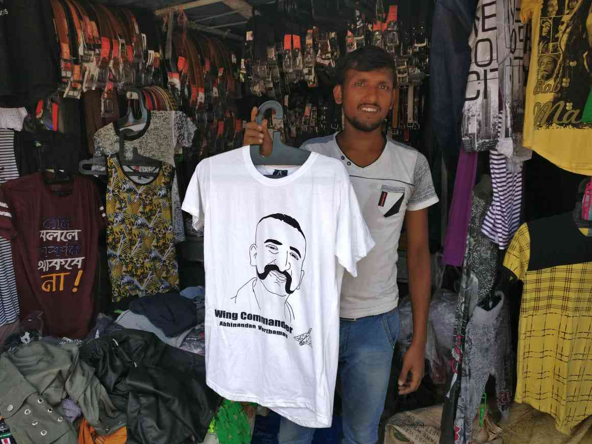 Using its social media domination, the BJP was able to push its messaging around the Balakot airstrikes deep into rural Bengal. This is t-shirt with the face of Abhinandan Varthaman, the fighter pilot captured by Pakistan. It was being sold in a small, rural market in North 24 Parganas district. Credit: Shoaib Daniyal