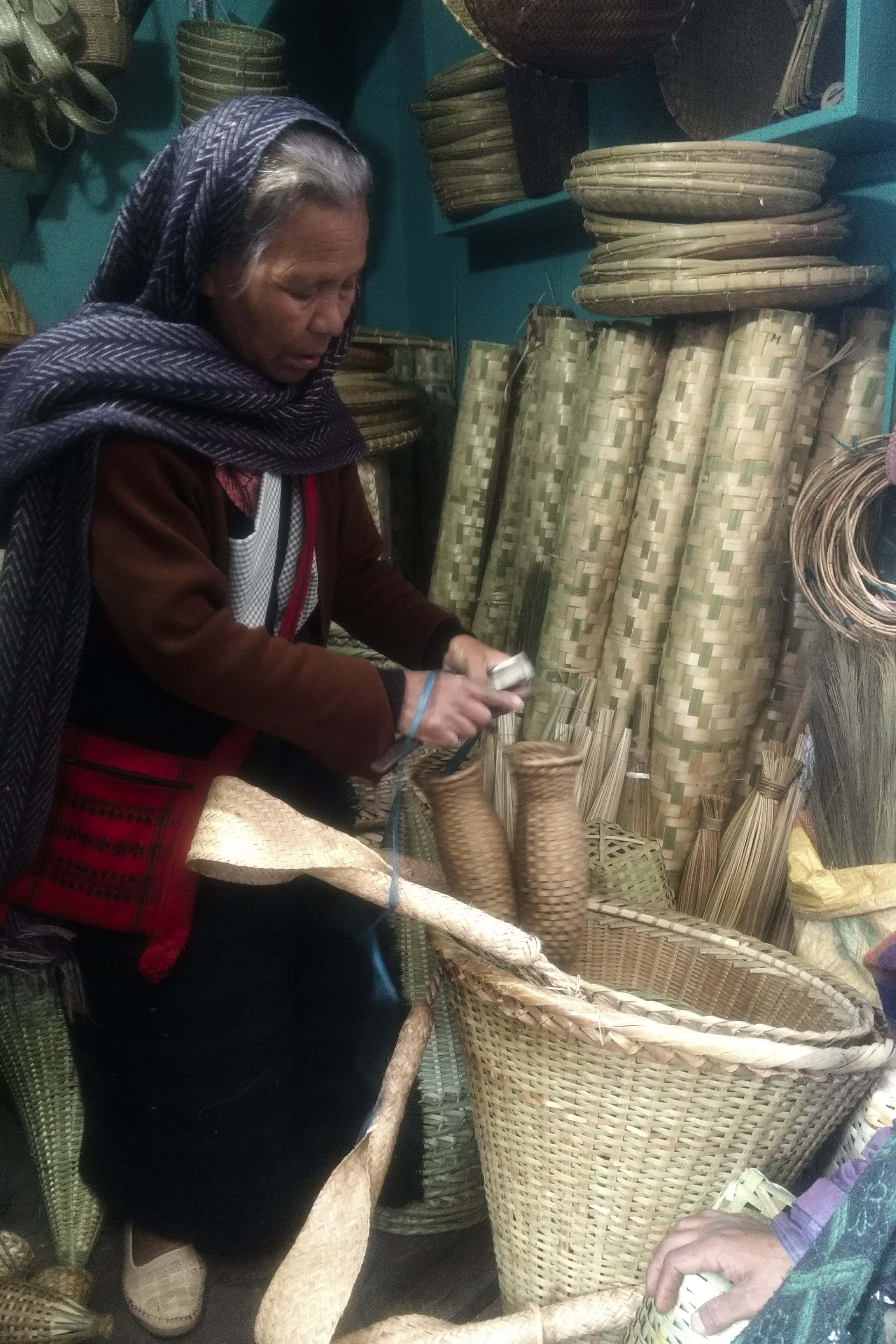 Owner of a basket-making shop in Shillong. (Photograph by Parasher Baruah).