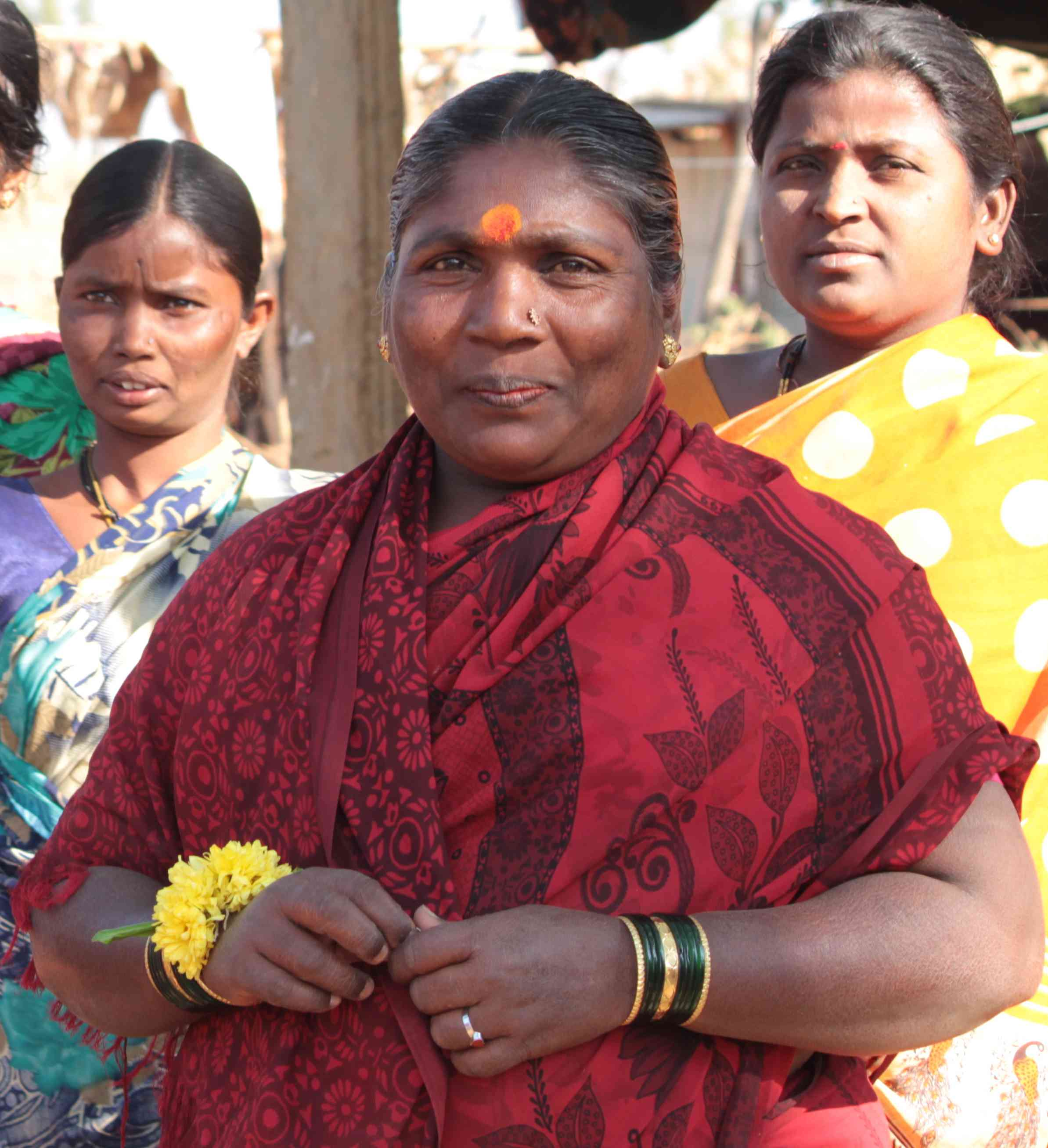 Rathnamma Megalmane with her neighbours in Nadiharalalli village.