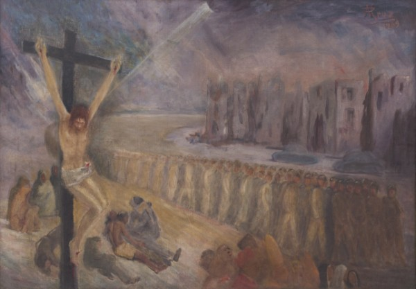 'You crucified me again' (Oil on canvas, dated 1969, exhibited 1971).
