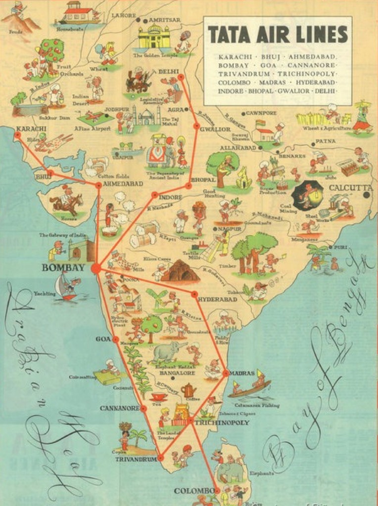 An advertisement for Tata Airlines circa 1939.