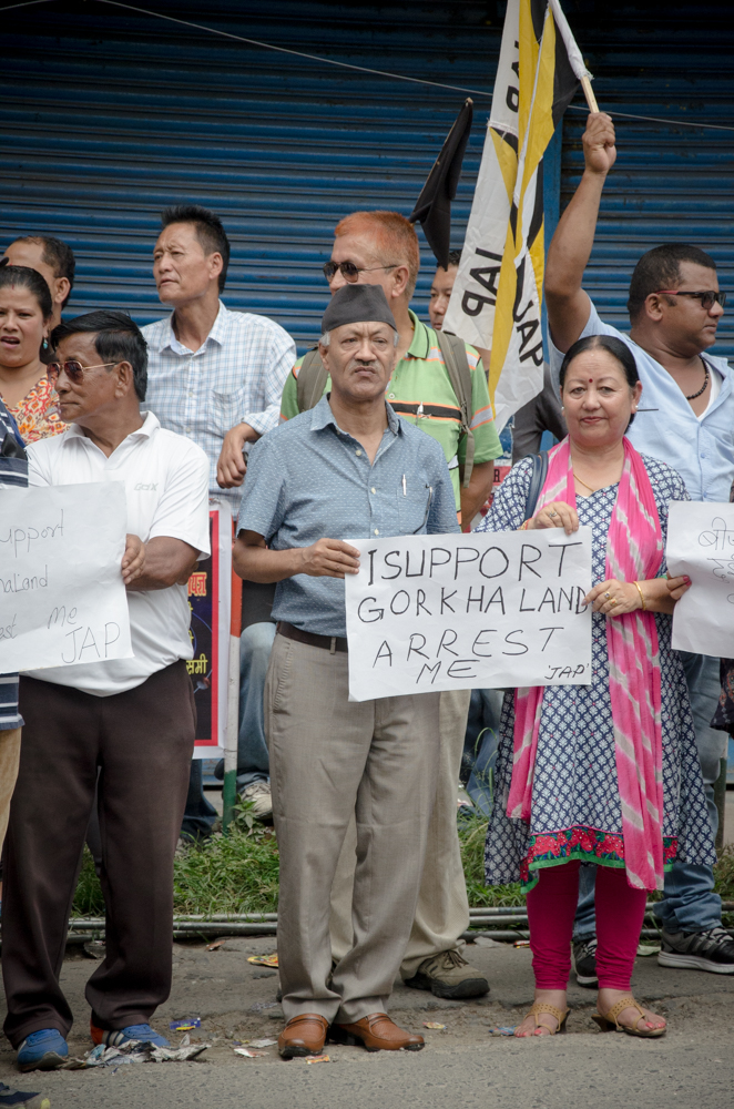 Jana Andolan Party President Dr Harka Bahadur Chettri along with party members during a peaceful rally supporting the demand for the creation of a separate state of Gorkhaland on June 16. Photo: Brihat Rai