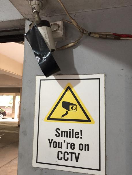 Masked CCTV camera at Shahidul Alam's apartment block. (Credit: Kanak Mani Dixit)
