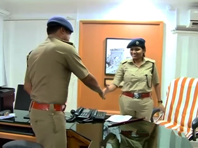 Ajeetha Begum takes over from her husband Satheesh Bino as Kollam's commissioner of police in June. (Credit: YouTube/asianetnews)