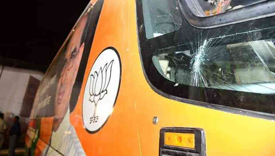 A shattered window on Shivraj Singh Chouhan's vehicle, which was pelted with stones during his Jan Ashirvad Yatra in September. (Credit: HT)