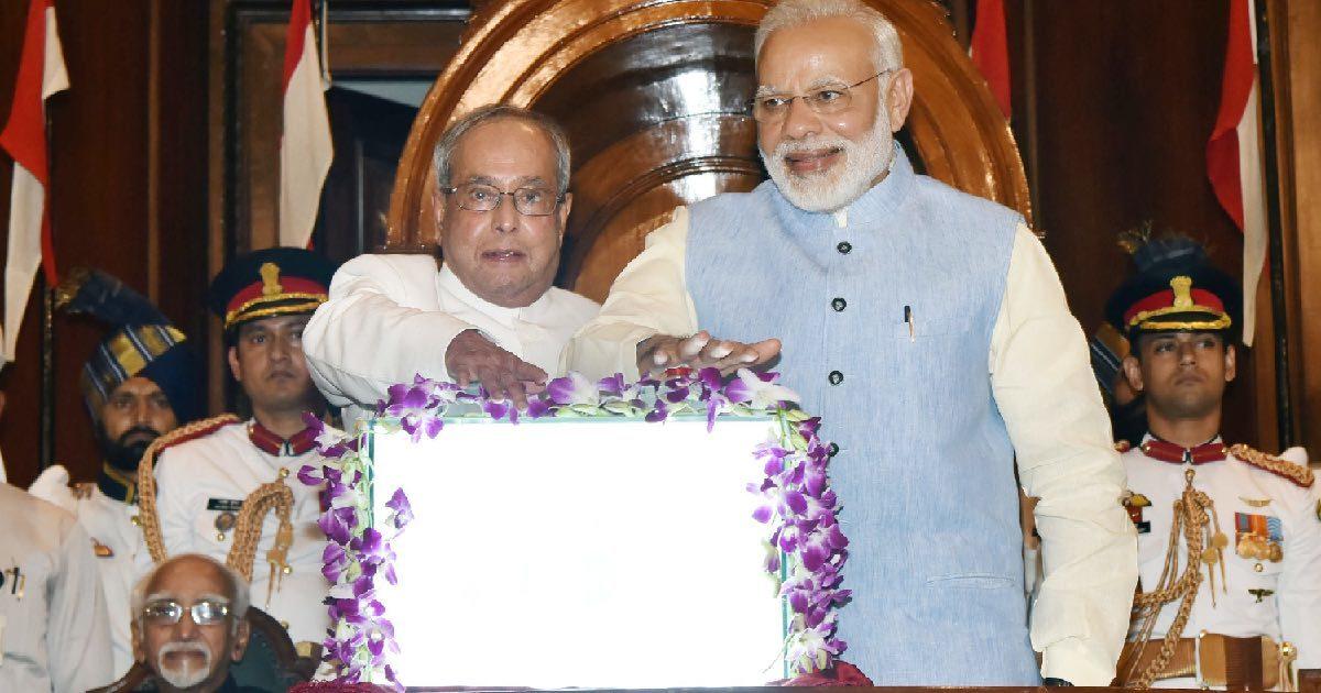 President Pranab Mukherjee and Prime Minister Narendra Modi pressing a buzzer to launch the Goods & Service Tax in the Central Hall of Parliament on June 30, 2017.