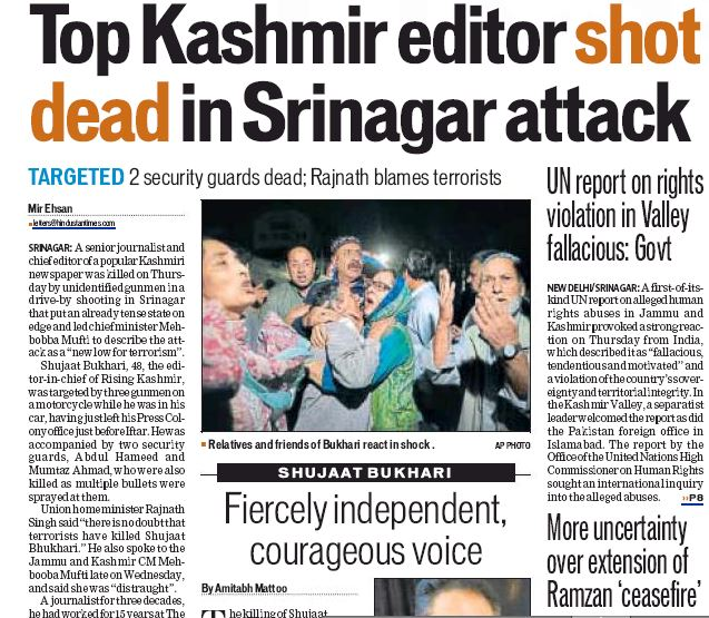 Hindustan Times' lead story
