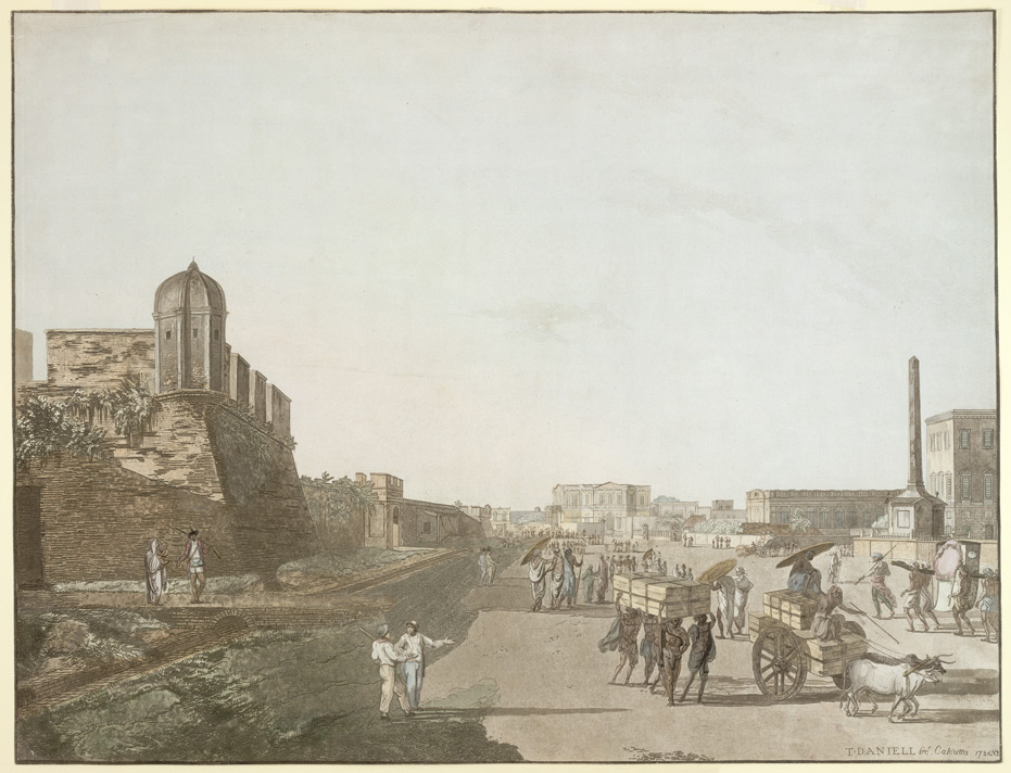 Old Fort, Playhouse and Holwell's Monument, Calcutta; by Thomas Daniell, 1786. Image credit: Wikimedia Commons.
