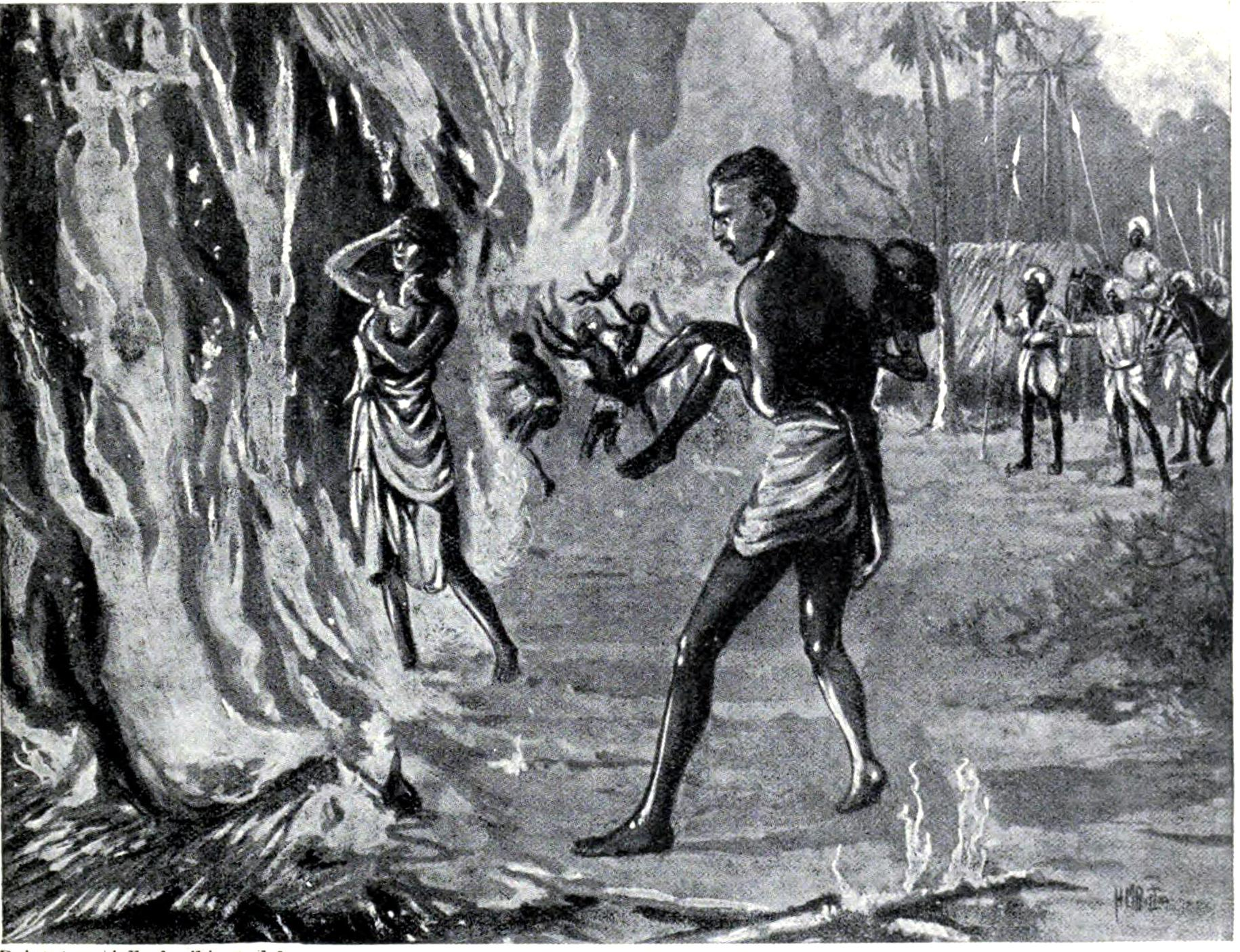 Villagers burn themselves to avoid the Pindari forces. (Credit: Wikimedia Commons)