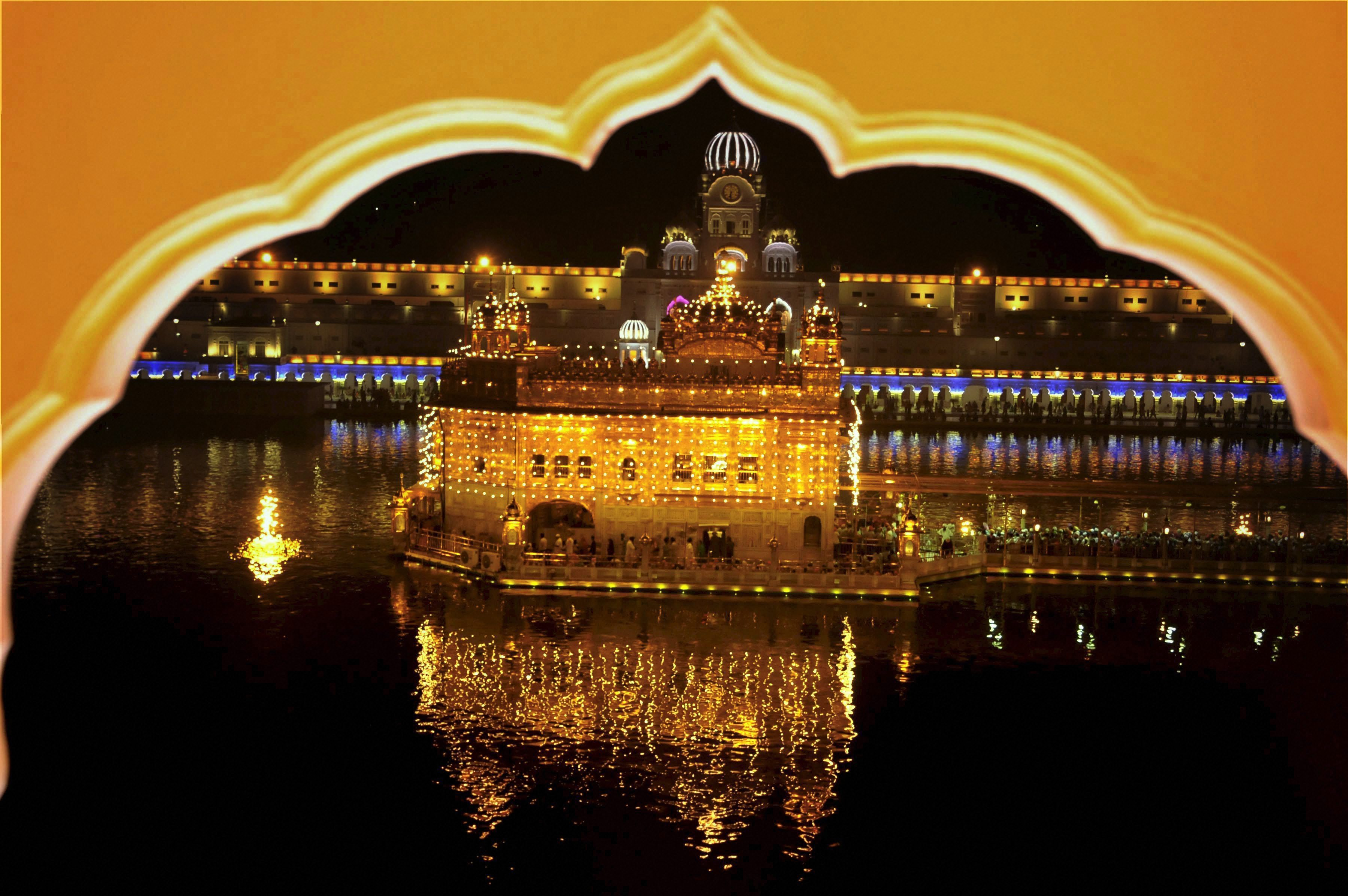 A view of the illuminated Golden Temple in Amritsar. (Credit: PTI)