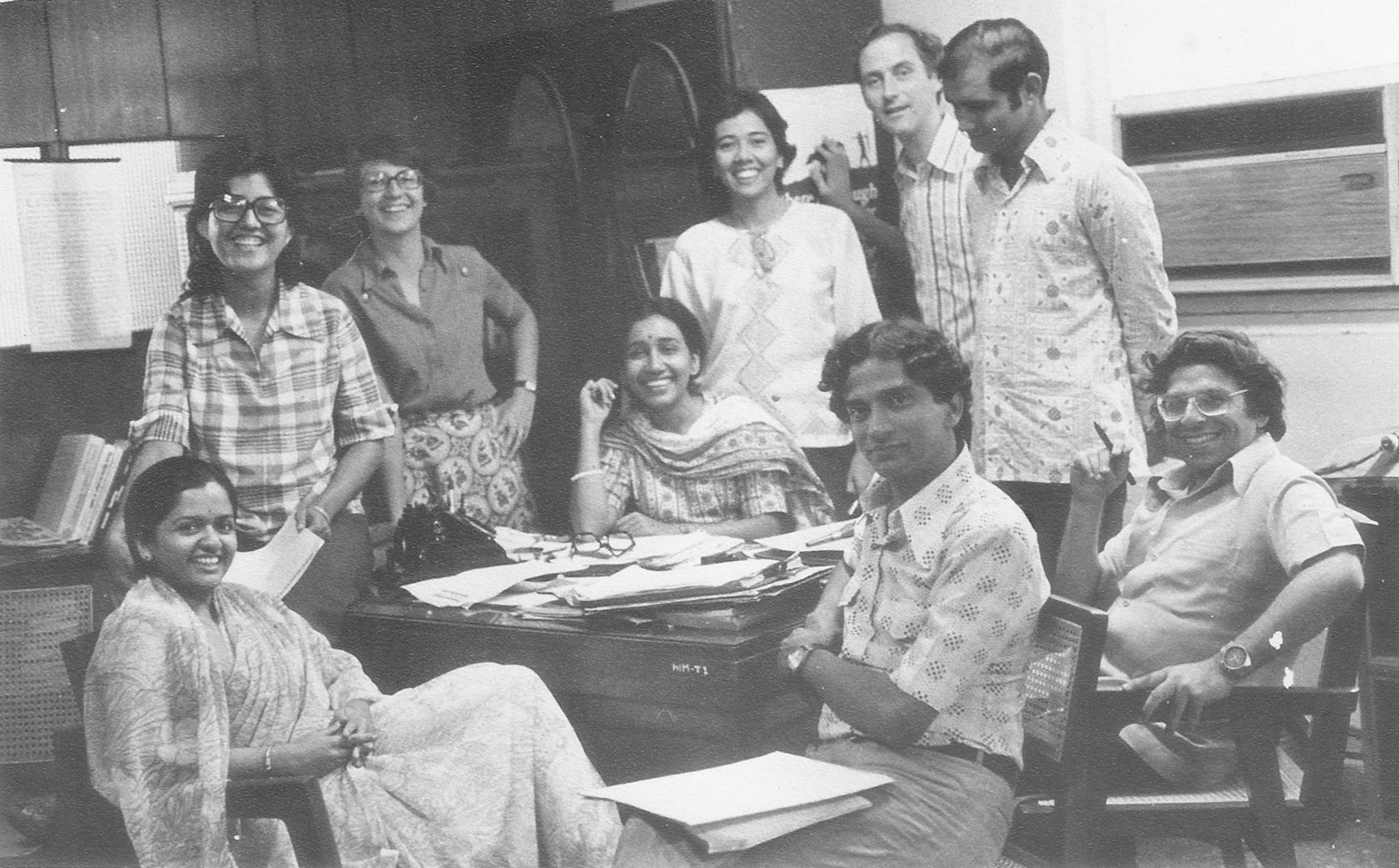 The author and other members of the staff of 'Himmat', the magazine that distinguished itself by courageously criticising the Emergency.