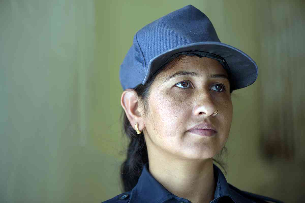 Jhooma Mena, 29, a member of the lady patrol unit of Jaipur police at the Jaipur police commissionerate.